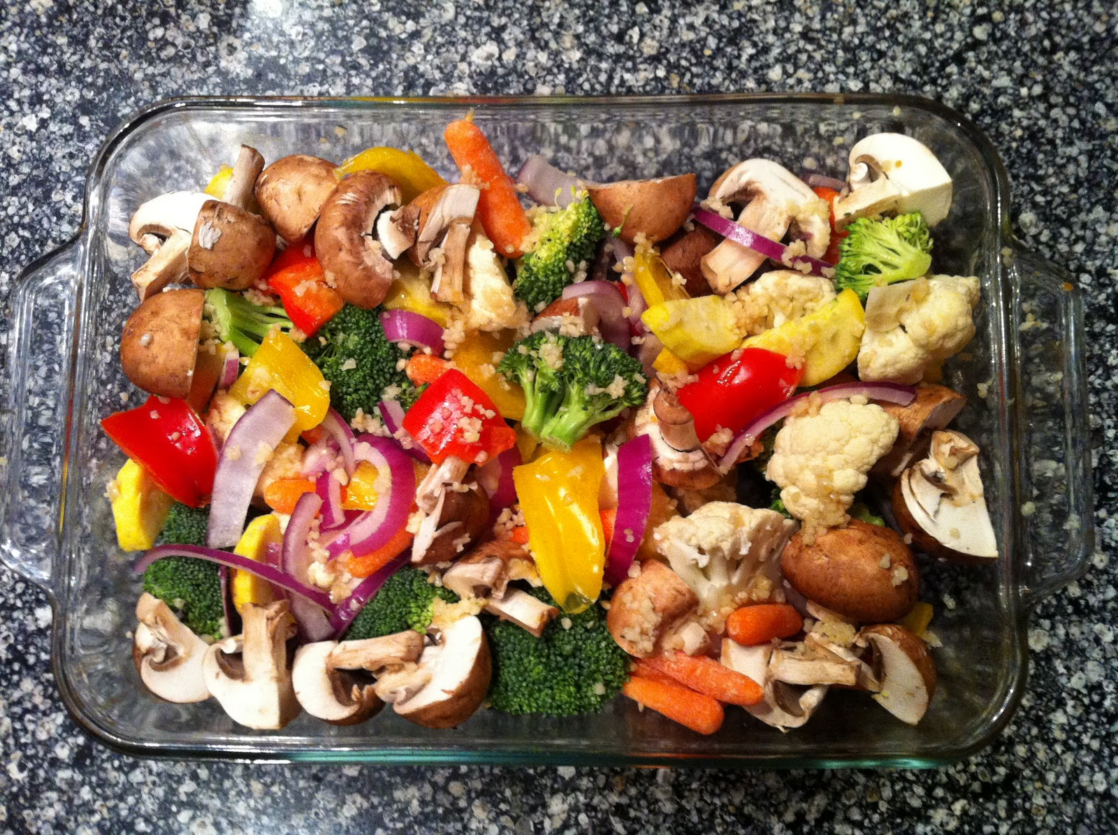 Garlic rosemary oven roasted vegetables with parmesan for Fish and vegetable recipes
